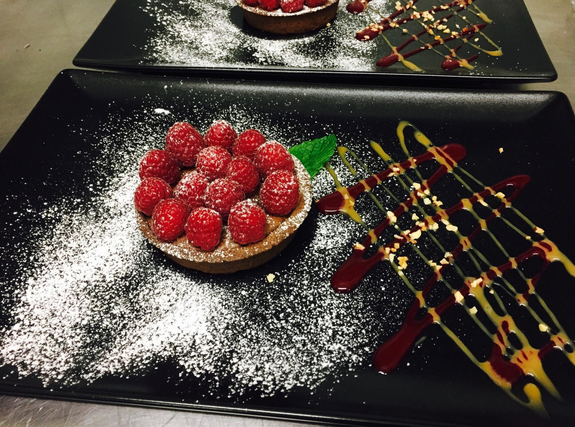 Tartelette tiède au Chocolat et aux Framboises fraîches